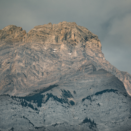 Cascade Mountain in early morning light during sunrise in Banff
