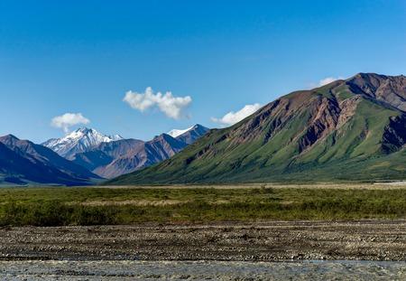 View towards grassland Tundra and Mountain range in Denali Natio