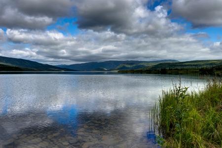 View across Wonder Lake in Denali National Park in Alaska United