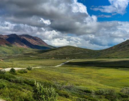 Weg die in de bergen met hemel en wolk in Denali Nat leidt