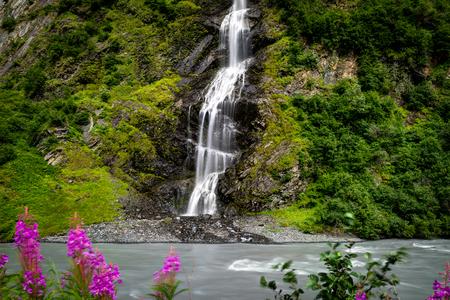 Long Exposure of Birdal Veil Falls waterfall in Alaska United St