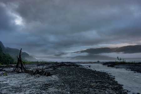 Misty morning and Clouds in Alaska United States of America Stock Photo