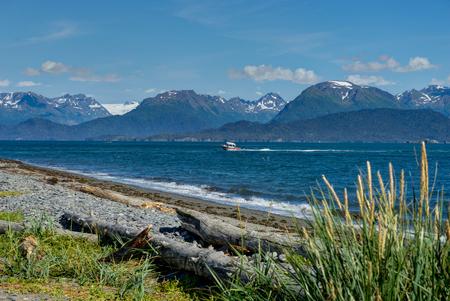 Beachview with mountains and sea Homer spit, Kenai Peninsula Alaska Stock Photo