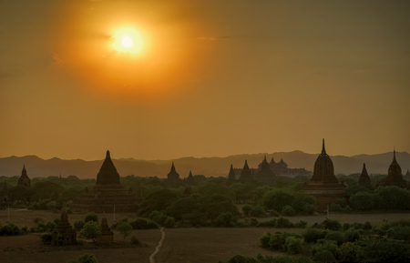 night vision: Sunset over Bagan Temple silhouette Myanmar Stock Photo