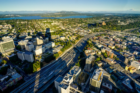 ne: Sunset View from Sky View Observatory over Seattle with Space Ne Stock Photo