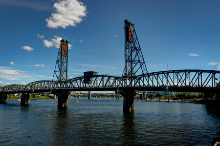 Hawthorne Bridge and Reflection over Willamette River in Portlan