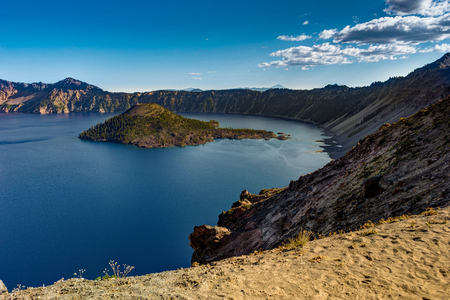 towards: View towards Wizard Island inCrater Lake National Park in Oregon Stock Photo