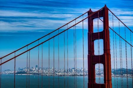 City view through Famous Golden Gate Bridge in San Francisco California Stock Photo