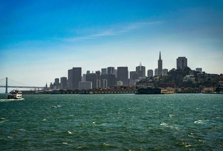 alcatraz: Skyline View of San Francisco In California from Ferry Stock Photo