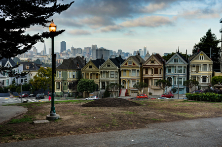 arbol alamo: City View Painted Ladies with street light in San Francisco California