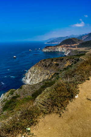 Ocean View with Beach Shore and water with blue sky in California Stock Photo