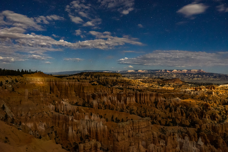 Night photography Bryce Canyon with moonlight and sky stars
