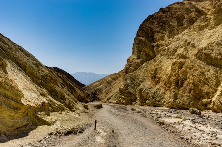 Golden Canyon with blue sky in Death Valley National Park California