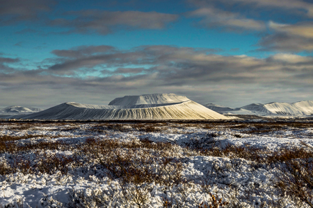 Christmas Landscape with Snow Capped Hverfjall Volcano and  refl