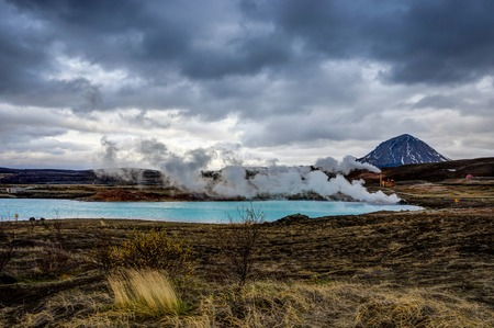 Hverir geothermal area also called Blue Lake near Myvatn Iceland