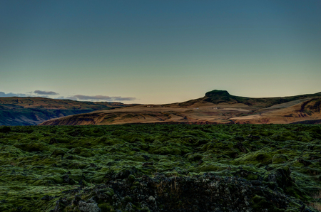Iceland Landscape with green moss and view towards mountains dar