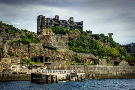 Hashima Island Abondoned Ghost Island near Nagasaki Stock Photo