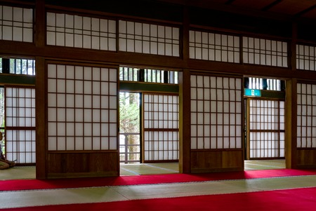 Traditional Japanese House with Paper doors and Tatami photo & Japanese Background Empty Beige Wall With Japanese Panel Doors ...