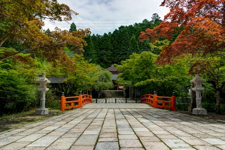 Traditional Japanese Landscape with autumn trees and orange brid Banco de Imagens
