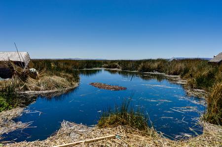 Floating islands made up of Totora reed near Huatajata, Bolivia
