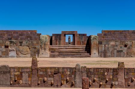 Ruïnes van Tiwanaku Bolivia La Paz Stockfoto - 90962821