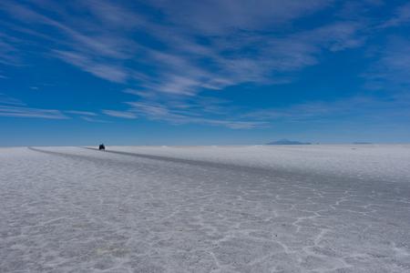 Jeep Tour Salt Flats in Salar de Uyuni Desert Bolivia Stock Photo