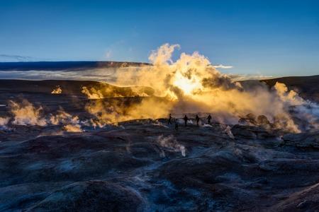 Sunrise at Sol de Manana Geothermal Active area Altiplano Bolivi Stock Photo