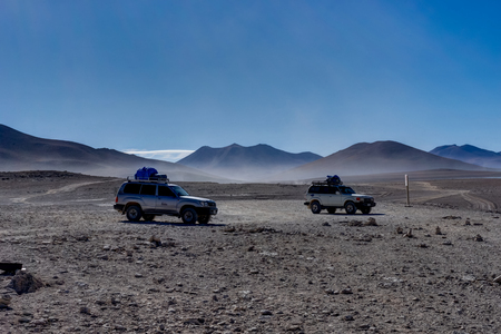 Two Jeeps 4x4 Offroader Altiplano Bolivia Stock Photo