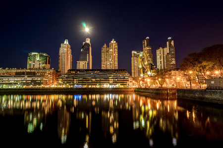 Night View Harbour Puerto Madero district in Buenos Aires Argent Banco de Imagens