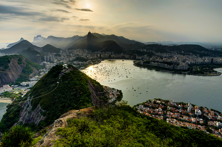 Rio de Janeiro View from Sugarloaf Mountain over the City during sunset 스톡 콘텐츠