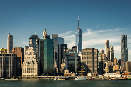 New York Skyline Citiview Manhatten with Freedom Tower World Tra 版權商用圖片
