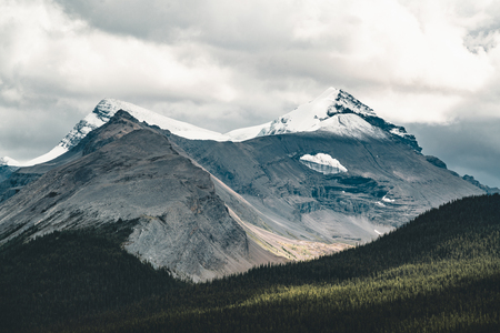 Grand Panorama of Surrounding Peaks at Maligne Lake, Jasper National Park.