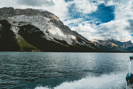 Grand Panorama of Surrounding Peaks at Maligne Lake, Jasper National Park.