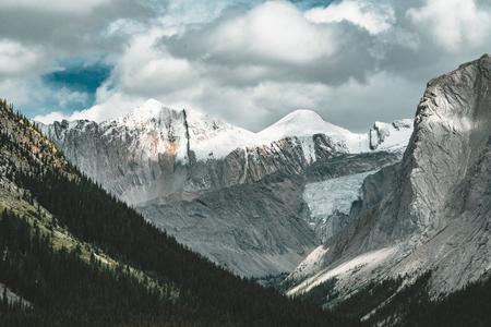 Mountain Panorama along Maligne Lage, Jasper National Park Canad