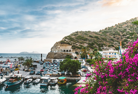 Agia Galini,Crete, Greece - August, 2018: fishing boats in the harbor of agia galini on the south coast of crete, greece