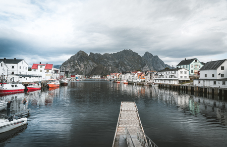 September 2018, Henningsvaer Lofoten island. Long Exposure of Henningsvaer fishing village on a cloudy day. Located on several small islands in the Lofoten archipelago. Editorial