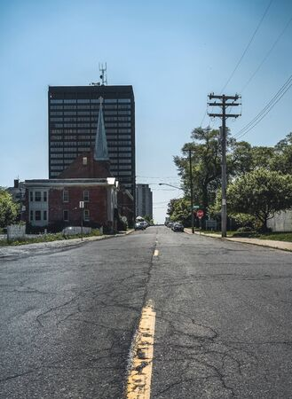 Detroit, Michigan, United States - October 18 2018 : View of Michigan Avenue in Corktown in Detroit in Michigan, USA. Detroit is the largest and most populous city in the U.S. state of Michigan, the largest United States city on the United States Canada b