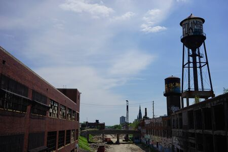 Detroit, Michigan, United States - October 18 2018: View of the abandoned Fisher Body Plant in Detroit. The Fisher Body Plant sprawls multiple city blocks and measures in at 3.5 million square feet. The plant opened in 1903 and closed in 1958 and sits aba Editorial