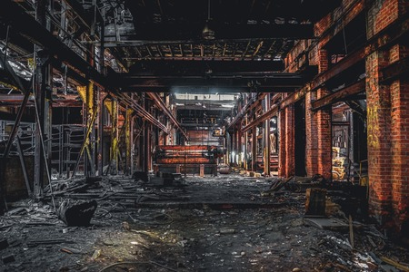 Detroit, Michigan, United States - October 18 2018: View of the abandoned Gray Iron Factory in Detroit. Detroit Gray Iron Foundry was one of several foundry companies located along the water front, producing tools, machinery, jig and fixture castings. Stock Photo - 132492521