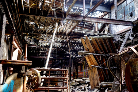 Detroit, Michigan, United States - October 18 2018: View of the abandoned Gray Iron Factory in Detroit. Detroit Gray Iron Foundry was one of several foundry companies located along the water front, producing tools, machinery, jig and fixture castings. Stock Photo - 132492525
