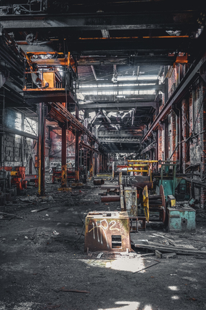 Detroit, Michigan, United States - October 18 2018: View of the abandoned Gray Iron Factory in Detroit. Detroit Gray Iron Foundry was one of several foundry companies located along the water front, producing tools, machinery, jig and fixture castings. Stock Photo - 132492527