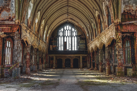Detroit, Michigan, May 18, 2018: Interior view of abandoned and damaged Church St. Agnes in Detroit. Stock Photo - 132492533