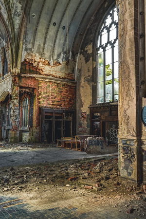 Detroit, Michigan, May 18, 2018: Interior view of abandoned and damaged Church St. Agnes in Detroit. Stock Photo - 132492534