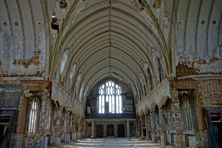 Detroit, Michigan, May 18, 2018: Interior view of abandoned and damaged Church St. Agnes in Detroit. Stock Photo - 132492536