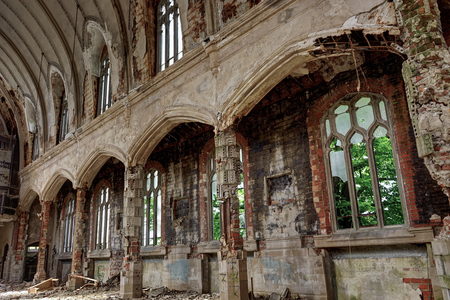 Detroit, Michigan, May 18, 2018: Interior view of abandoned and damaged Church St. Agnes in Detroit. Stock Photo - 132492500