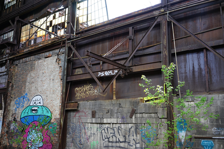 Detroit, Michigan, United States - October 18 2018: View of the abandoned Gray Iron Factory in Detroit. Detroit Gray Iron Foundry was one of several foundry companies located along the water front, producing tools, machinery, jig and fixture castings. Stock Photo - 132492502
