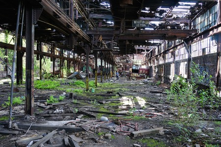 Detroit, Michigan, United States - October 18 2018: View of the abandoned Gray Iron Factory in Detroit. Detroit Gray Iron Foundry was one of several foundry companies located along the water front, producing tools, machinery, jig and fixture castings. Stock Photo - 132492508