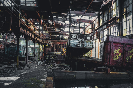 Detroit, Michigan, United States - October 18 2018: View of the abandoned Gray Iron Factory in Detroit. Detroit Gray Iron Foundry was one of several foundry companies located along the water front, producing tools, machinery, jig and fixture castings. Stock Photo - 132492505