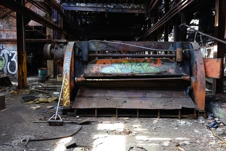 Detroit, Michigan, United States - October 18 2018: View of the abandoned Gray Iron Factory in Detroit. Detroit Gray Iron Foundry was one of several foundry companies located along the water front, producing tools, machinery, jig and fixture castings. Stock Photo - 132492504