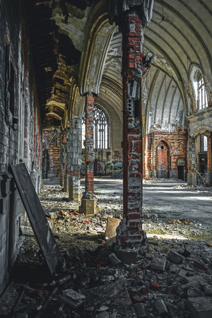 Detroit, Michigan, May 18, 2018: Interior view of abandoned and damaged Church St. Agnes in Detroit. Stock Photo - 132492512